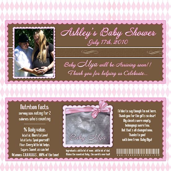 custom photo baby shower candy bar wrappers printable digital file