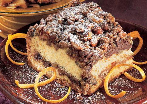 Sour Cream Orange Coffee Cake with Chocolate Pecan Streusel- Delicious ...