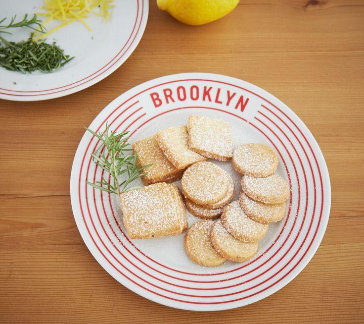 Lemon Rosemary Shortbread Cookies by One Girl Cookies