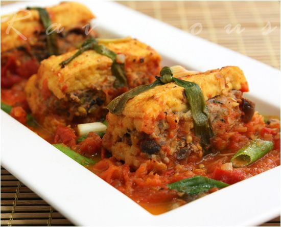 Braised Stuffed Tofu Dau Hu Nhoi Thit | Vietnamese food | Pinterest
