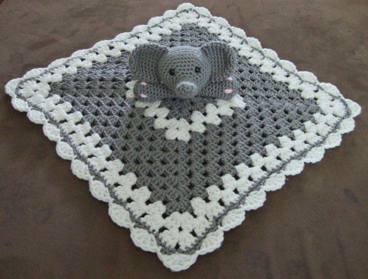 Crochet elephant lovey/security blanket My crochet work-A Touch of ...