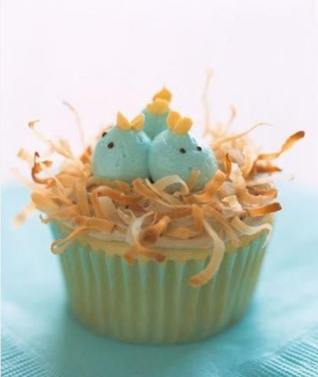 baby birds in a nest of toasted coconut on a cupcake - what's not to ...