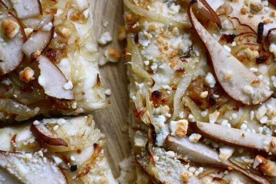 ... pear and blue cheese focaccia-- with brown sugar rosemary walnuts