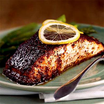 Barbecue Roasted Salmon    This Caribbean version of barbecue brings a fresh take to your typical grilled fare. Pineapple juice and brown sugar add sweetness while chili powder and cumin provide the traditional smoky flavor. The result is a heart-healthy dish with plenty of spice
