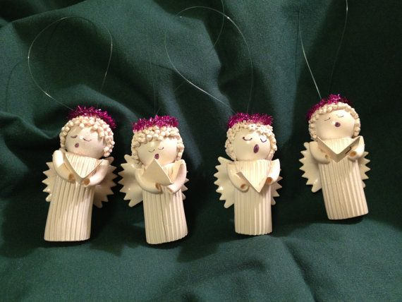 Noodle Angel Christmas Tree Ornaments with pink halos