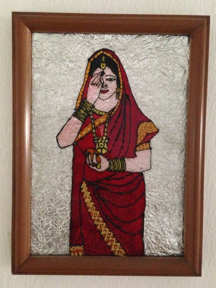 Indian married lady enhancing her beauty with a bindi - Glass Painting