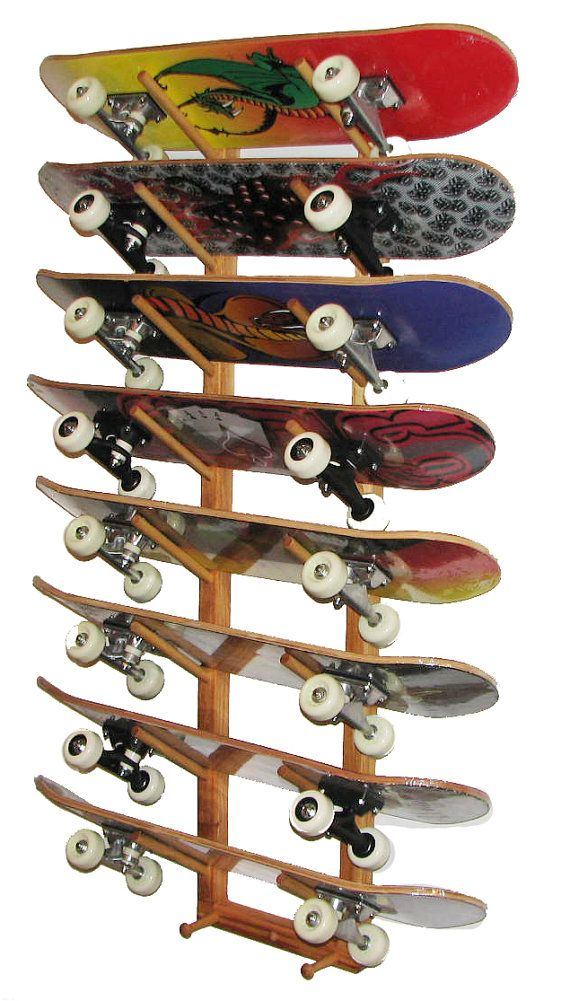 skateboard wall storage rack 8 boards angle