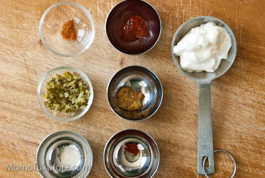 Shack Sauce - use vinegar insead of dill pickle, rooster sauce instead ...