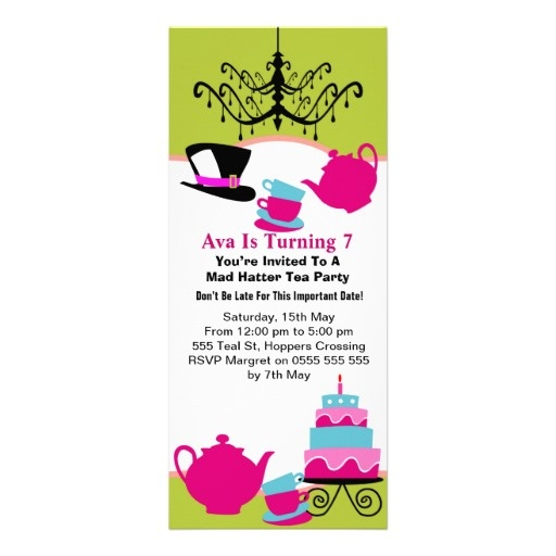 girl 39 s mad hatter tea party birthday invitation