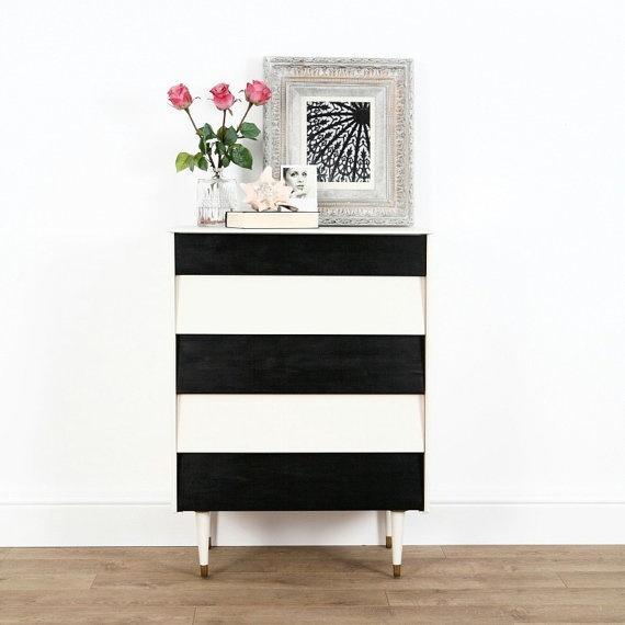 Black+white upcycled teak chest