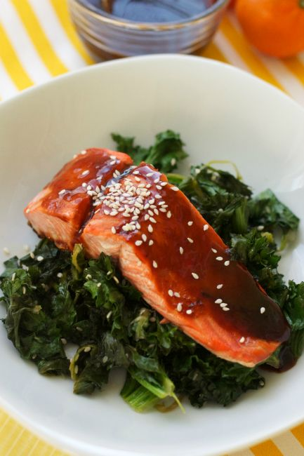 Citrus Hoisin Salmon + Sesame Sauteed Kale