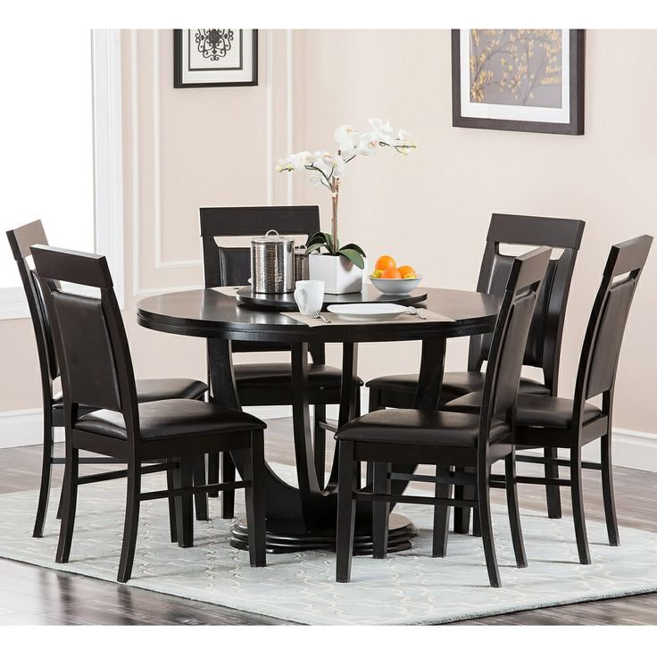 dark mahogany calvin dining set this charming seven piece round set