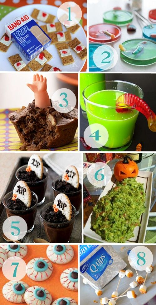 """Kid Friendly Halloween Treats. Could use pretzle sticks for the """"used q-tips""""."""