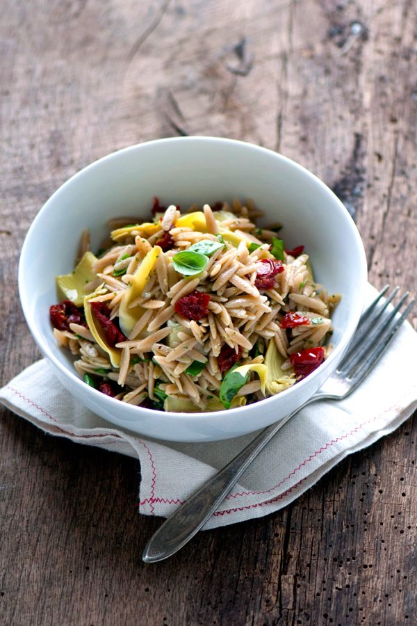 Recipe for Whole-Wheat Orzo Pasta Salad with Artichokes, Spinach, Sun ...