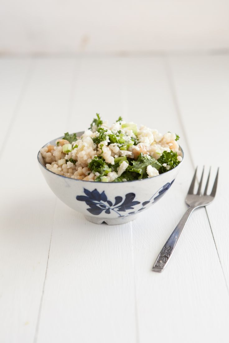 Kale and Couscous with Green Garlic Dressing | Recipe