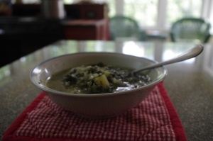 Quinoa Chowder with Spinach, Feta and Scallions. Just what I needed ...