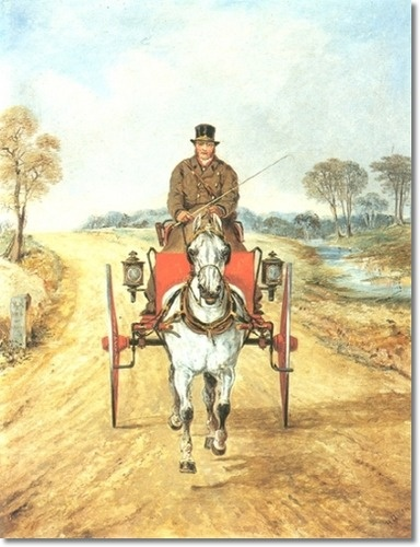 Henry Alken - Gig with White Horse on Country Road
