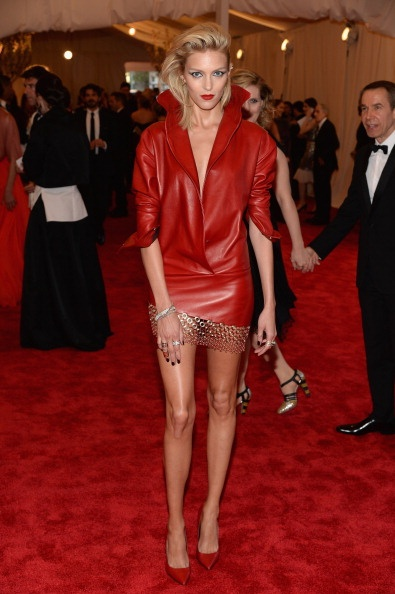 Anja Rubik in red Anthony Vaccarello at the Met Gala 2013