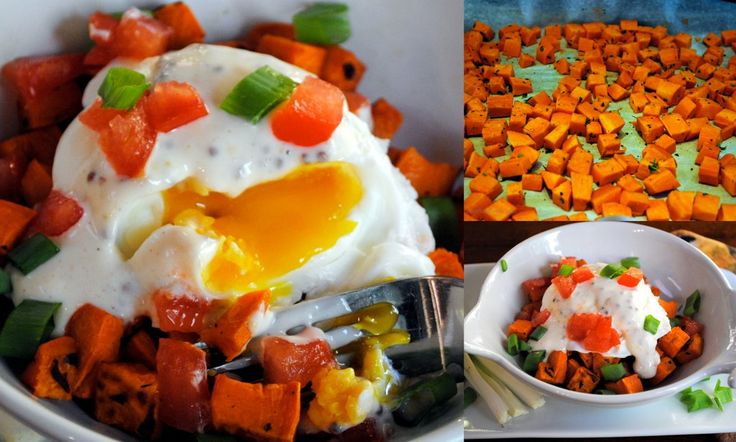 Poached Eggs and Roasted Sweet Potatoes with Honey Mustard Sauce | Re ...