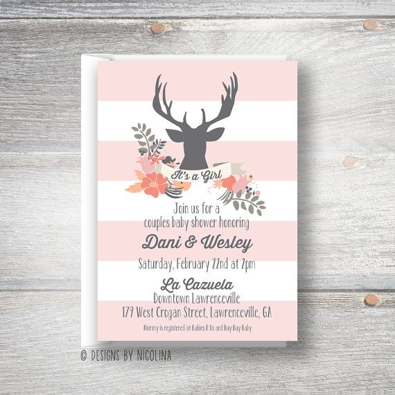 little antlers floral deer baby girl shower invitations by