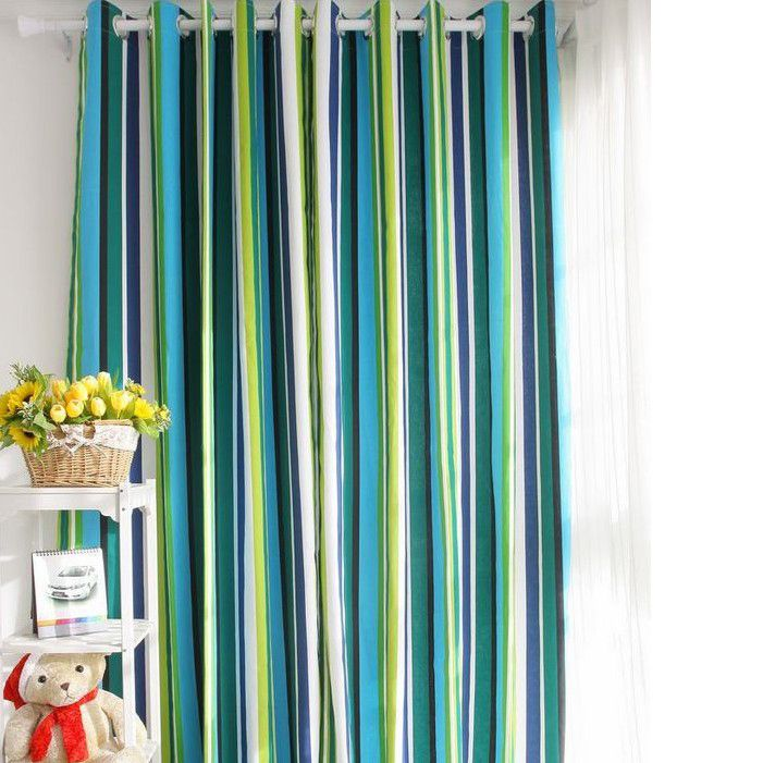 Special Design Striped Blue Cotton Ordinary Shading Curtains (Two ...