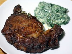 Pan-Seared Ribeye Steak with Quick Creamed Spinach | Serious Eats ...