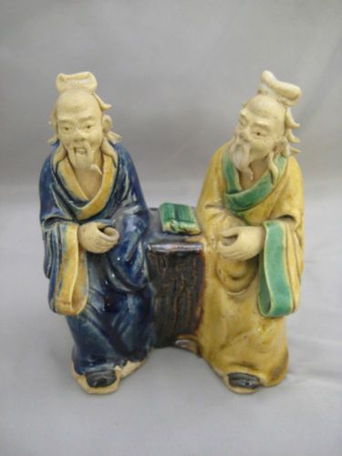 ... chinese porcelain figurine of two old wise men sitting with books