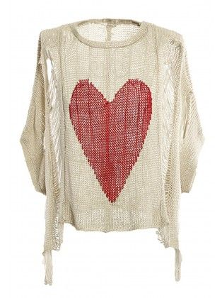 Hilo Cutout Heart Crochet Sweater