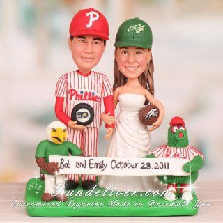 Philadelphia Eagles Wedding Cake Topper-- you can get it made to look like you   how fun