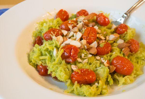 Creamy Avocado Sauce & Roasted Cherry Tomatoes w/ Spaghetti (Squash ...