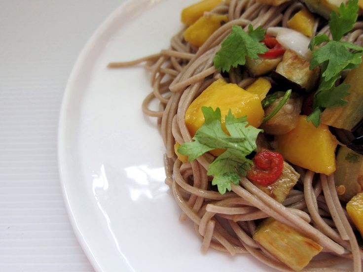 Ottolenghi's soba noodles with eggplant and mango
