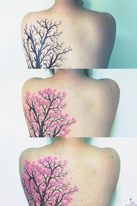 Tree tattoo getting filled in.