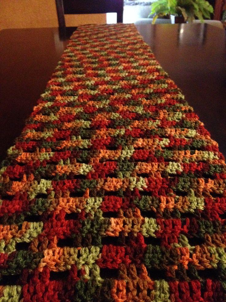 Fall crochet table runner
