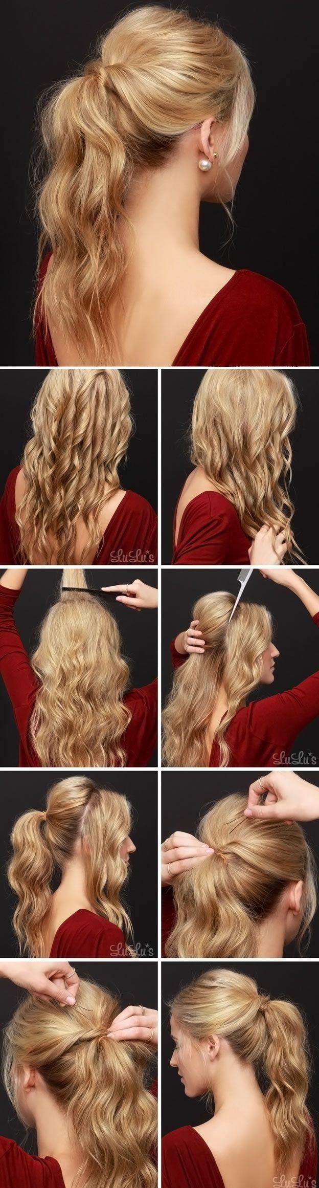 Причёска из хвостиков на средние волосы