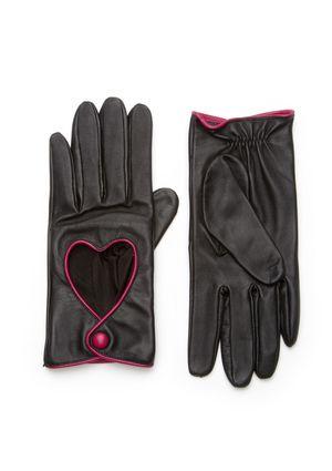 PORTOLANO Tech-Touch Leather Heart Trim Glove