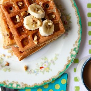 Banana Walnut Waffles Recipe from caroveys | MyRecipes.com