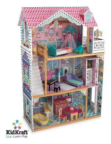 New Wooden Dollhouse Doll House Fits Barbie Elevator
