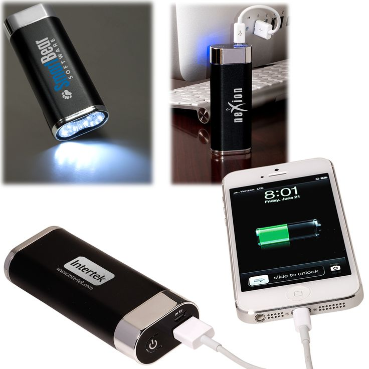 PL-4449 Mobile Charger with LED Light. Portable lithium ion battery in aluminum shell with ultra-bright LED flashlight allows you to charge your devices virtually anywhere. Includes standard USB connector cable to charge battery from your computer or any USB port with a power supply.