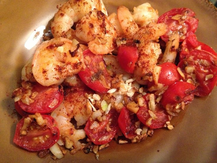 Working Out and Eating In: Sauteed Shrimp with Garlic and Tomatoes