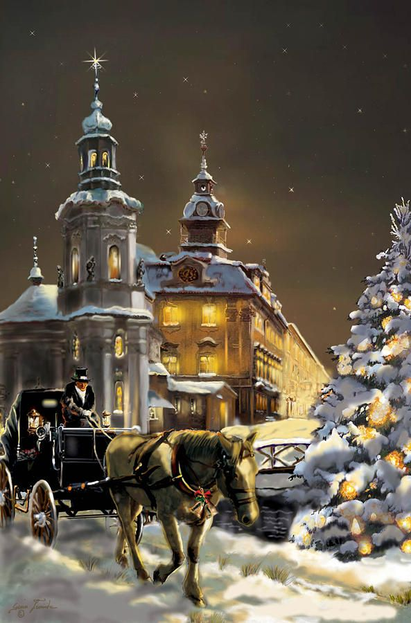 Gina Femrite —  Buggy and Horse at Christmas in the Ukraine   (593x900)