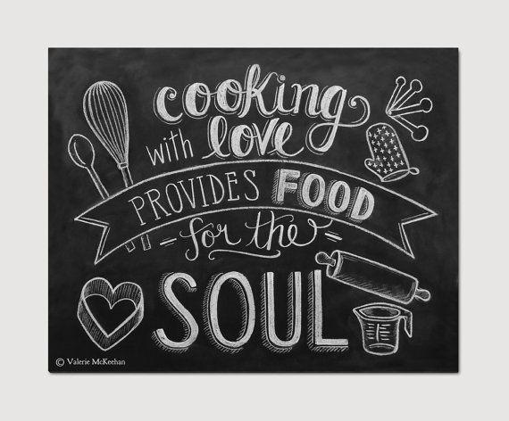 CHALKBOARD FOOD SAYINGS | Chalkboard Art - Kitchen Art - Cooking Quote - Foodie Gift - Kitchen ...