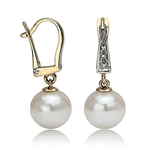 18K White Gold Earrings, Pearl Earrings, White Freshwater Pearl