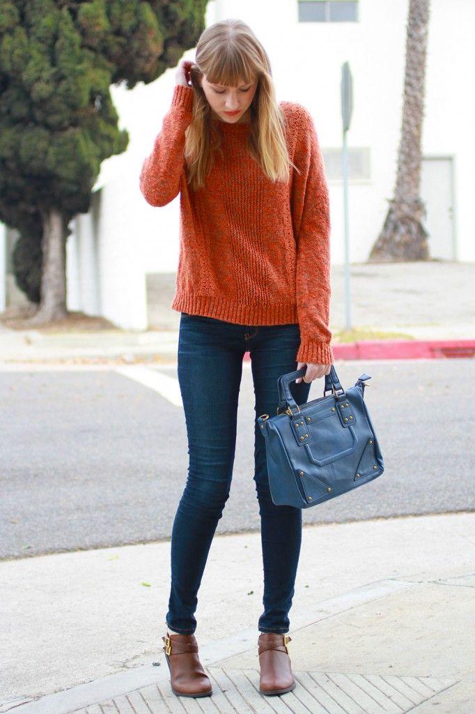 オレンジニットセーター着こなしコーディネート
