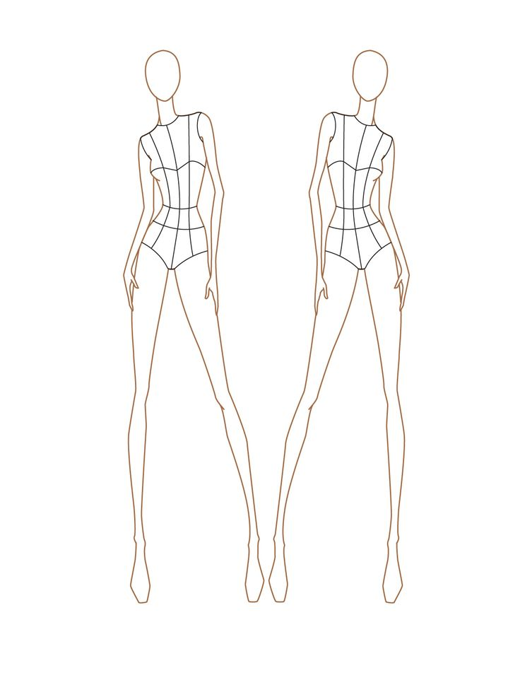 Fashion Croquis Templates Front And Back Croquis  female front viewFemale Croquis Templates