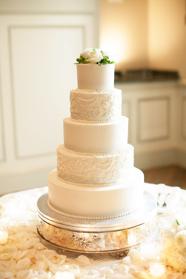 classic white wedding cake with lace detail by Cinda's Creative Cakes