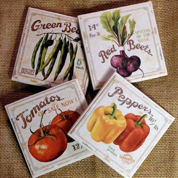 Kitchen Decor Vegetables: Vegetable Coasters, Healthy, Kitchen Coasters, Kitchen