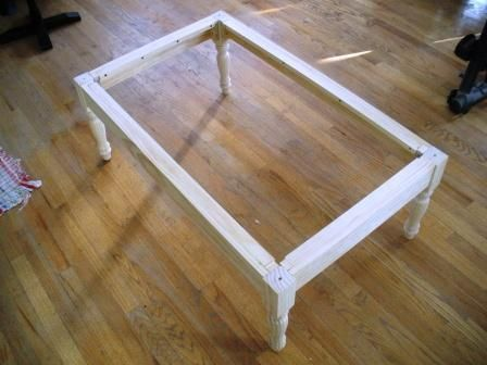 base for a coffee table legs bought at home depot