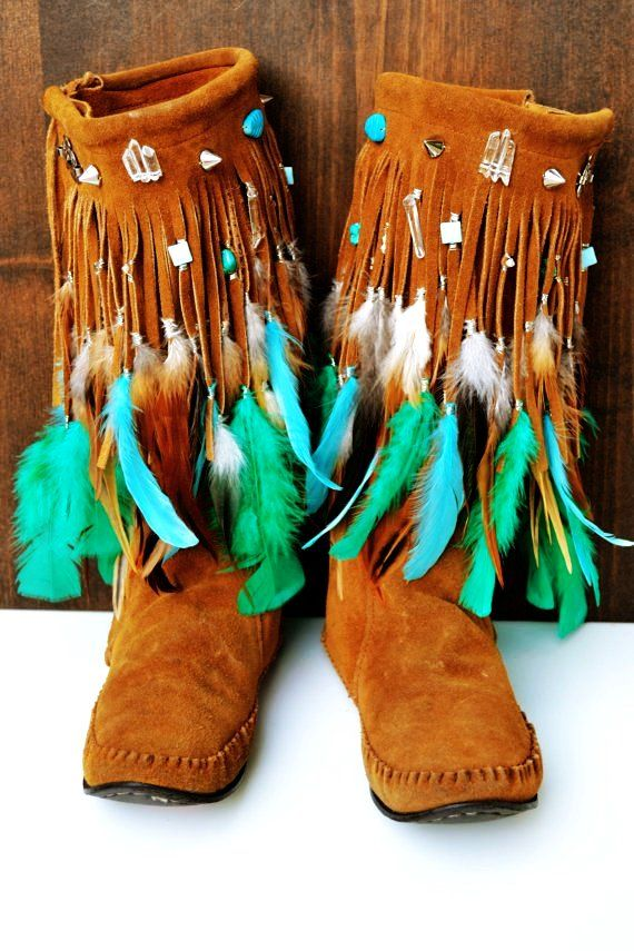 Women Fringe Moccasin Boots for Women - Flat Fringe Moccasin Boots for