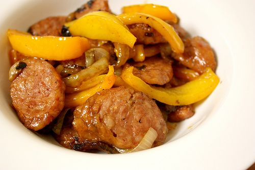 sausages, peppers, onions
