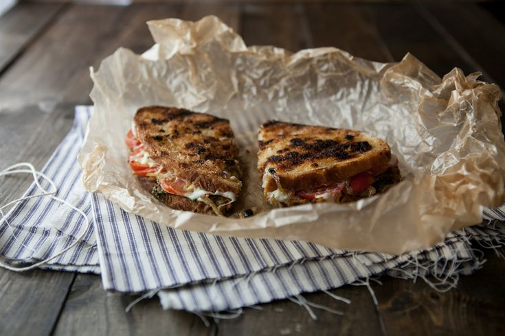 Caramelized Onions, Pesto, and Grilled Mozzarella Sandwich   Recipe